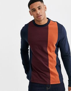 organic long sleeve t-shirt with vertical color block in navy
