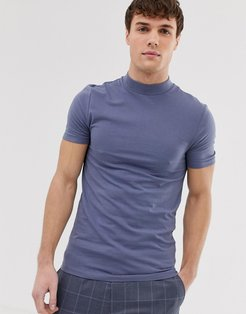 organic muscle fit jersey turtleneck in gray