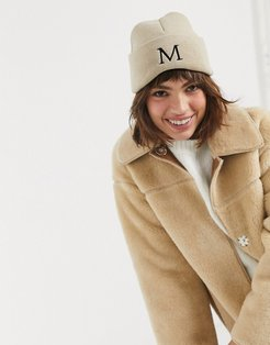 personalized beanie with M initial-Brown