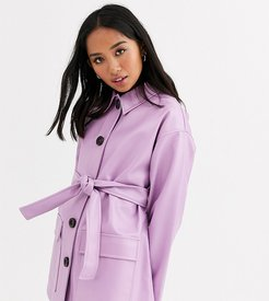 ASOS DESIGN Petite button through leather look belted jacket in lilac-Purple