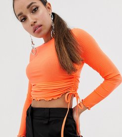 ASOS DESIGN Petite crew neck fitted top with ruched sides-Orange