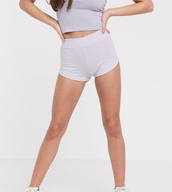 ASOS DESIGN Petite hot pant in washed lilac-Purple