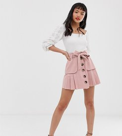 ASOS DESIGN Petite linen pleat mini skirt with button front and pockets-Pink