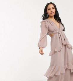 ASOS DESIGN Petite maxi dress with long sleeve and circle trim-Beige