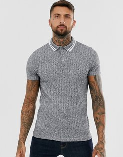 polo shirt in interest rib with contrast tipping-Gray