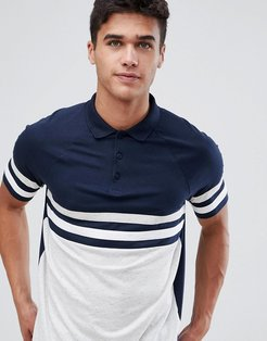 polo shirt with contrast body and sleeve panels in interest fabric in navy