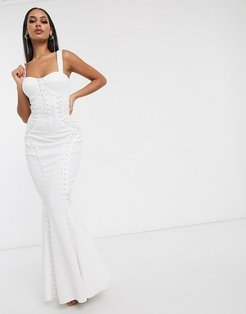 Premium extreme lace up cami maxi dress-White