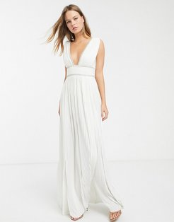 premium pleat maxi dress with rhinestone trim-White