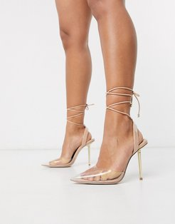 President pointed high heels in clear and nude-Beige