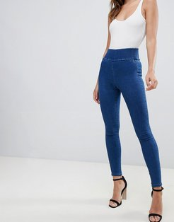 pull on jegging in flat blue wash