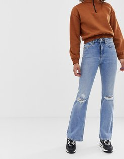 Rigid full length flare jeans with busted knee detail in mid stone wash-Blue
