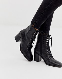 Rivet leather square toe lace up boots in black croc