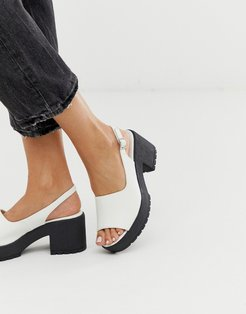 Steal chunky slingback mid heels in white