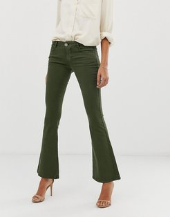 super low rise flare jeans in khaki-White