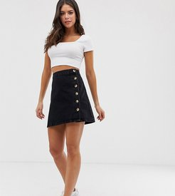 ASOS DESIGN Tall denim wrap skirt with side buttons in black