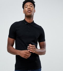Tall pique polo with button down collar in black