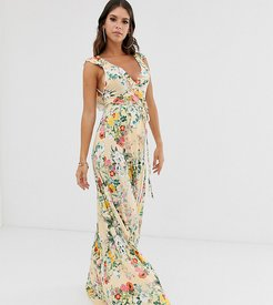 ASOS DESIGN Tall ruffle wrap maxi dress with tie detail in floral print-Multi