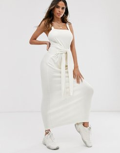 tie waist rib maxi dress-White