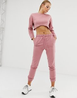 tracksuit cropped sweat with raw edge / slim jogger with tie-Brown