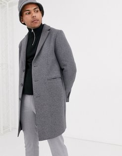 two-piece wool mix overcoat in light gray