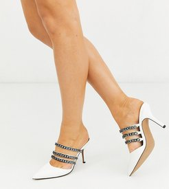 Wide Fit Wonderful chain detail mid-heeled mules in tortoise-White