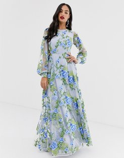 embroidered maxi dress with open back-Blue