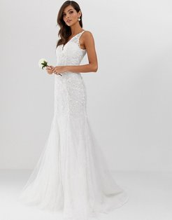 embroidered mesh over lace fishtail wedding dress-White