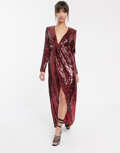 plunge asymmetric maxi dress in sequin-Red