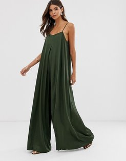 satin pleat front jumpsuit with extreme wide leg-Green