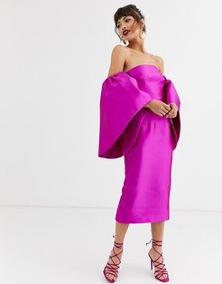 structured midi dress with extreme sleeve-Purple