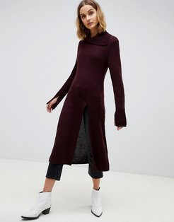 knitted tunic with front split-Red