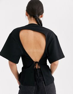 seam front backless t-shirt-Black
