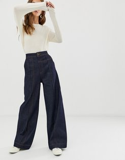wide leg jeans with stitch detail-Blue
