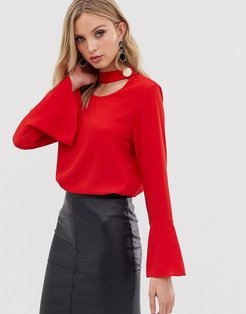 long sleeve blouse-Red
