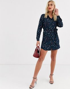 shirt dress in multi colored leopard print