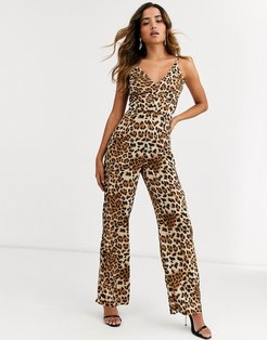 v neck jumpsuit in leopard print-Multi