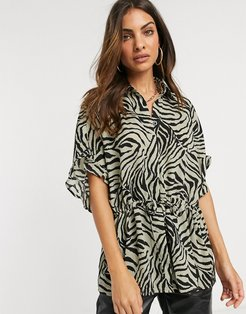 zebra print oversized shirt-Green