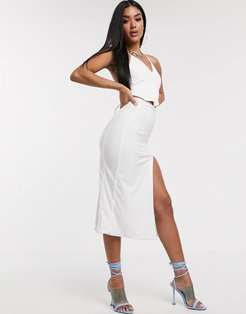 AYM Premium midaxi skirt with high thigh split in white
