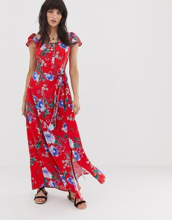 button front off shoulder maxi dress in pink floral print