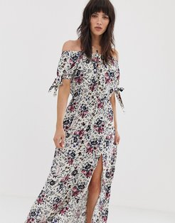 off shoulder maxi dress with tie sleeves in white floral print