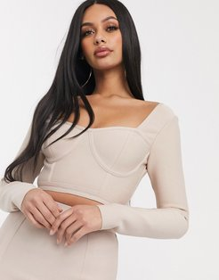bandage corset detail crop top two-piece in biscuit-Brown