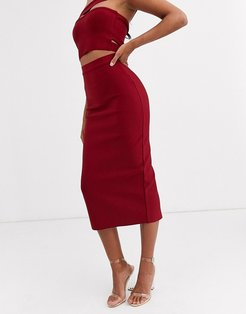 bandage midaxi skirt in berry-Red
