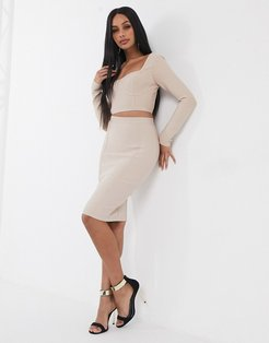 bandage pencil skirt two-piece in biscuit-Brown