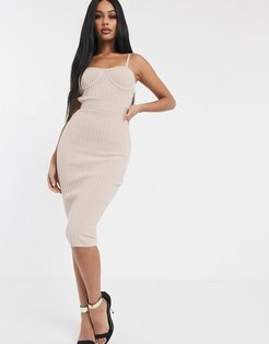 bandage ribbed midi pencil dress with cage back in biscuit-Brown