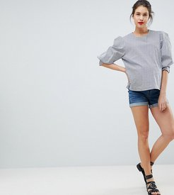 Maternity denim short with removable bump band-Blue