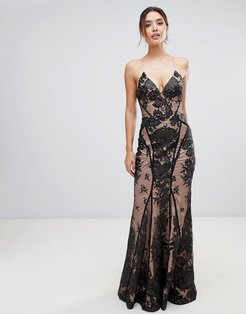 allover lace cami maxi dress with strappy back in black