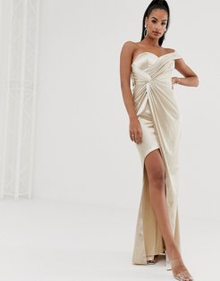 asymmetric liquid draped gown in gold