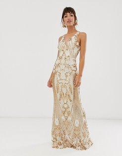 embellished patterned sequin strappy back maxi dress in gold