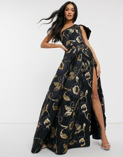 one shoulder prom dress with thigh split in navy jacquard print