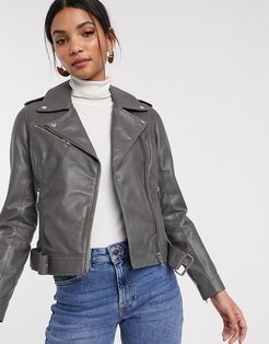 Barney's Originals colored leather biker jacket in gray